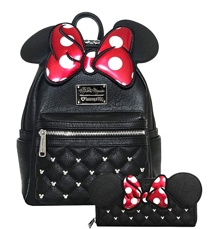 Loungefly Disney Minnie Mouse Bow Mini Backpack and Wallet Set (Black/Red)