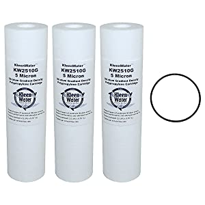 GE GXWH04F, GXWH20F, GXWH20S Compatible Water Filter Multi-Pack Cartridges, 5 Micron, 2.5 x 10 Inch Poly-Spun Cartridges by KleenWater (3) with O-ring (1)
