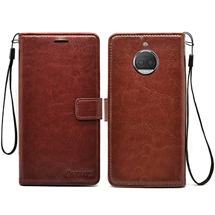 online store 18921 8d0fa Bracevor Flip Cover Moto G5S Plus Leather Case with Inner TPU and Wallet  Stand - Executive Brown
