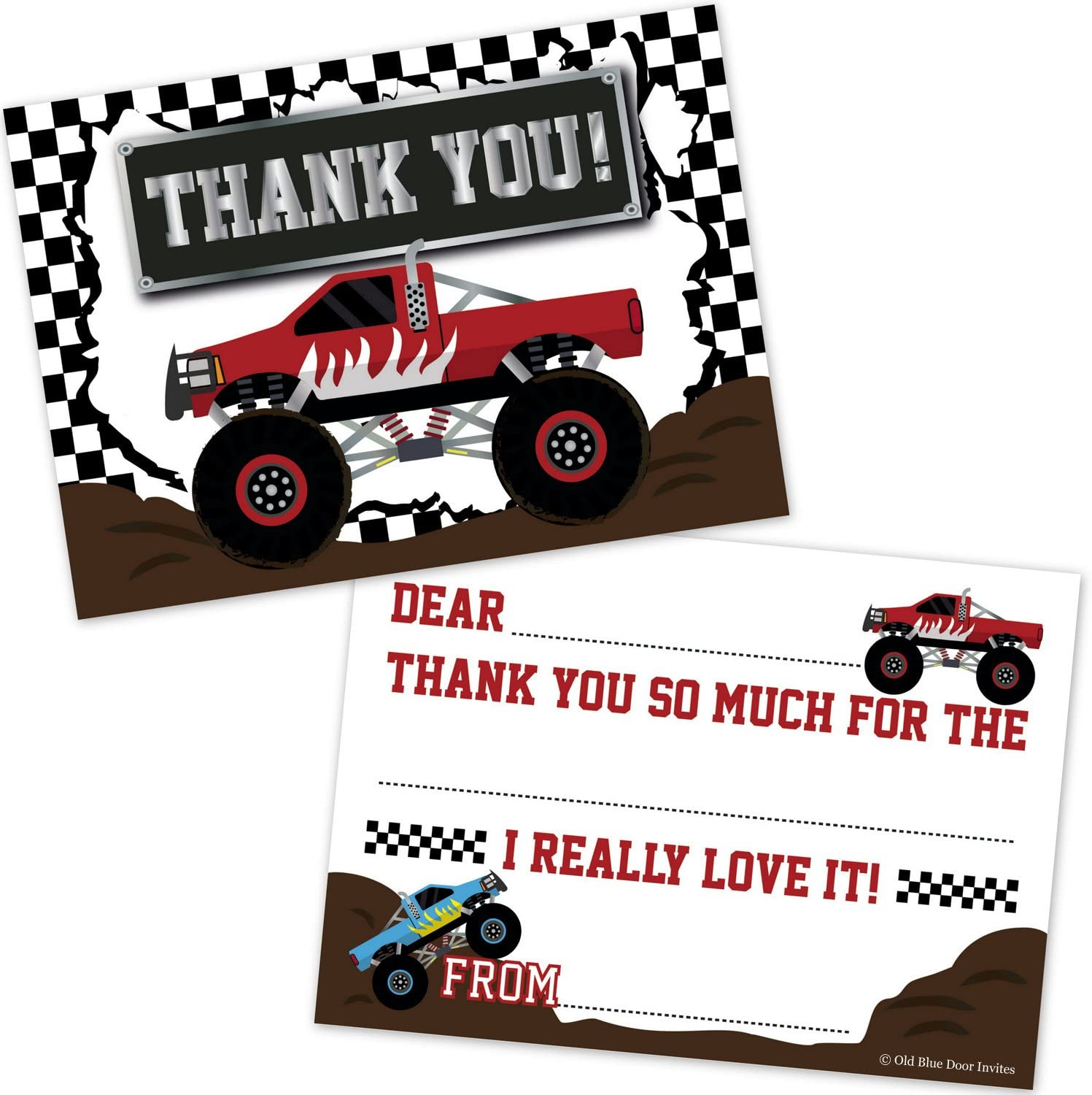 Monster Truck Fill in The Blank Thank You Cards for Kids (20 Count with Envelopes) - Boys Birthday Party Thanks