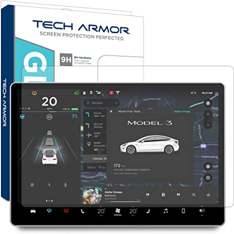 Tech Armor Anti-Glare//Anti-Fingerprint Screen Protector for Tesla Model 3 15 2-Pack