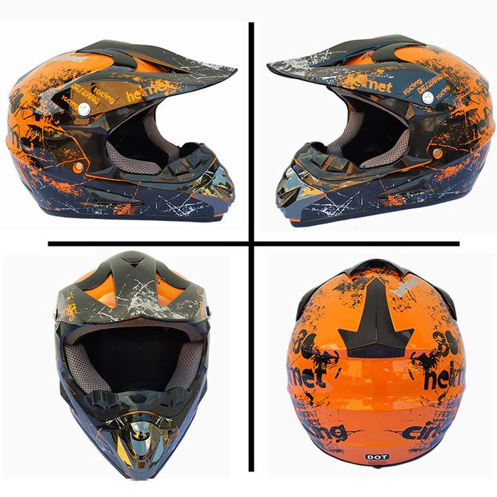 LEENY Cascos de Motocross de Motos Set con Gafas//M/áscara//Guantes//Cerradura de Combinaci/ón Naranja Cascos de Cross Adulto Motorcycle Off-Road DH Enduro Casco ATV Quad Cascos de Motocicleta
