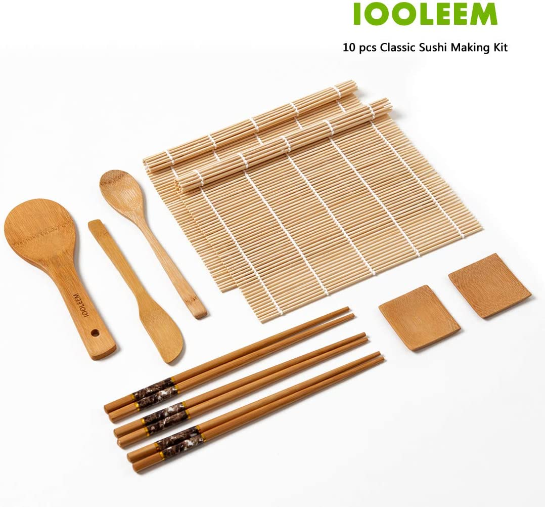 IOOLEEM Classic 10 Pieces Sushi Making Kit, Bamboo Sushi Set with 2 x Sushi Mats, Rice Paddle, Spreader, Mixing Spoon and 2 dipping dishes, Sushi Kit