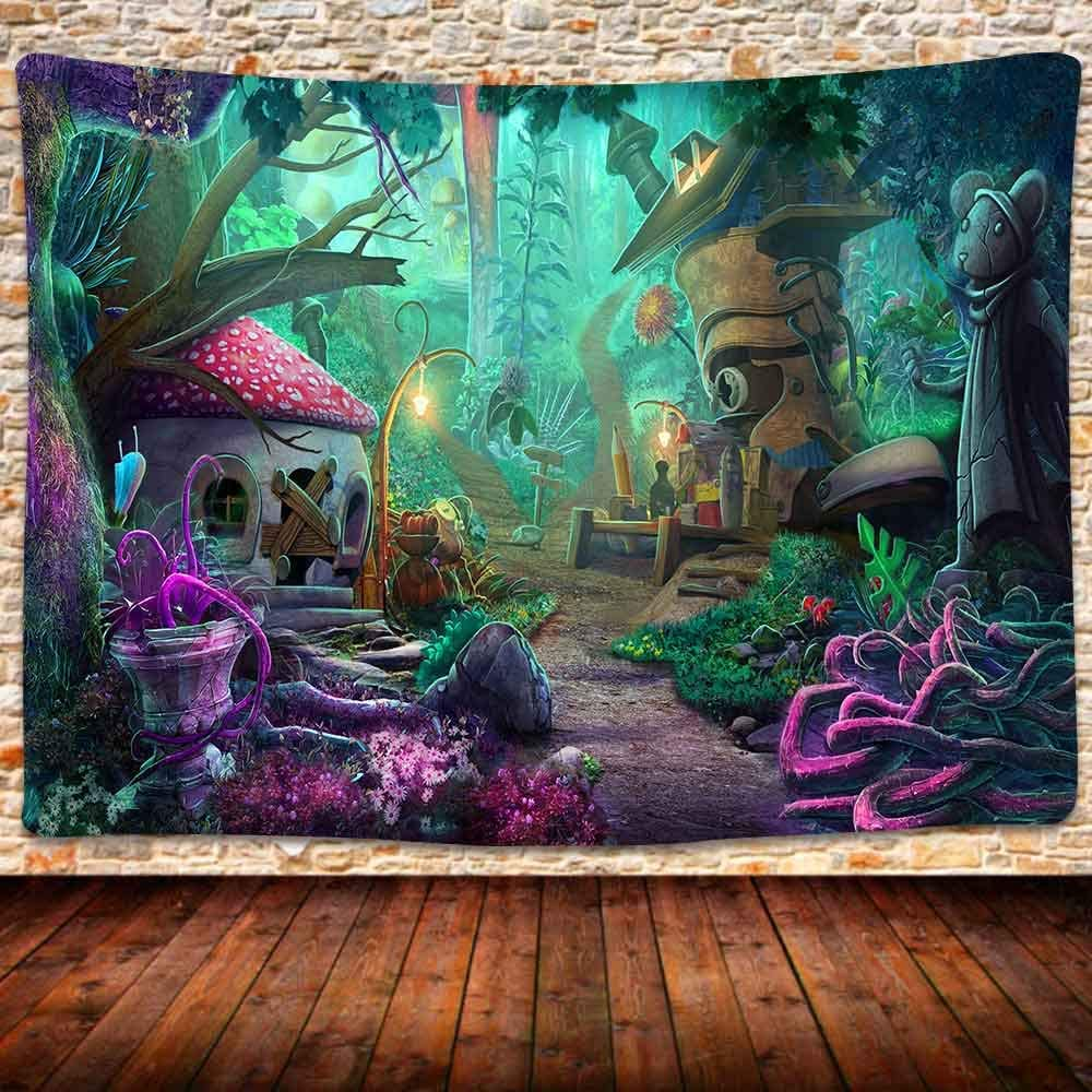 Fantasy Forest Tapestry, Fairytale Cartoon Forest Tapestry Psychedelic Theme Wall Hanging Large Tapestry of Life 80×60 Inches Bedroom Living Room Decor GTLSUH339