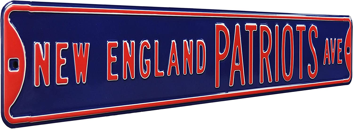 """FREMONT DIE 35057NFL New England Patriots Ave, Metal Wall Decor- Large, Heavy Duty Steel Street Sign – Football Wall Decor for Dorm Room Decorations, Man Cave Decor, Office and Gifts, Team Color, 36"""" x 6"""""""