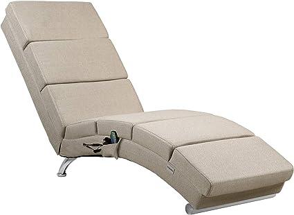 Casaria Chaise Longue massaggiante London Funzione Riscaldamento ergonomico Sdraio Massaggio Lettino Relax Soggiorno Antracite Tessuto