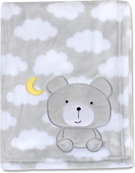 "Girls Boys Nursery Crib 30/""x 36/"" Fleece Baby Blanket with Teddy Bears Mint"