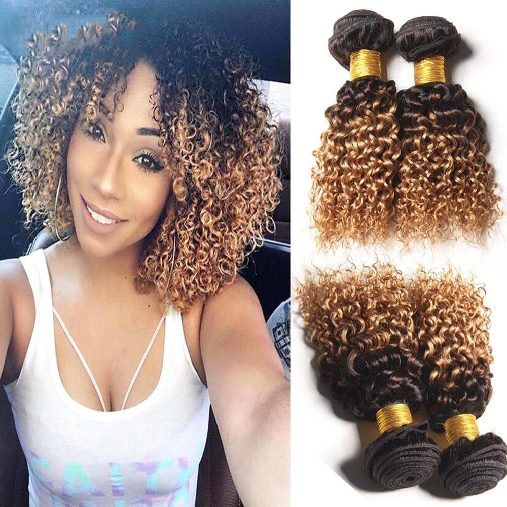 Amazon Com Hairitory Ombre Kinky Curly Human Hair Weave 3 Bundles Peruvian Virgin Hair 1b 4 27 Dark Roots Blonde Hair Short Curly Weave Human Hair 100g Pc 10 10 10 1b 4 27 Beauty