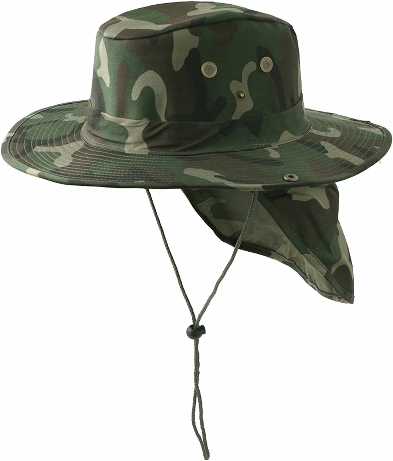 Buy Caps and Hats Safari Fishing Hat with Neckflap Boonie Mens Green Camouflage
