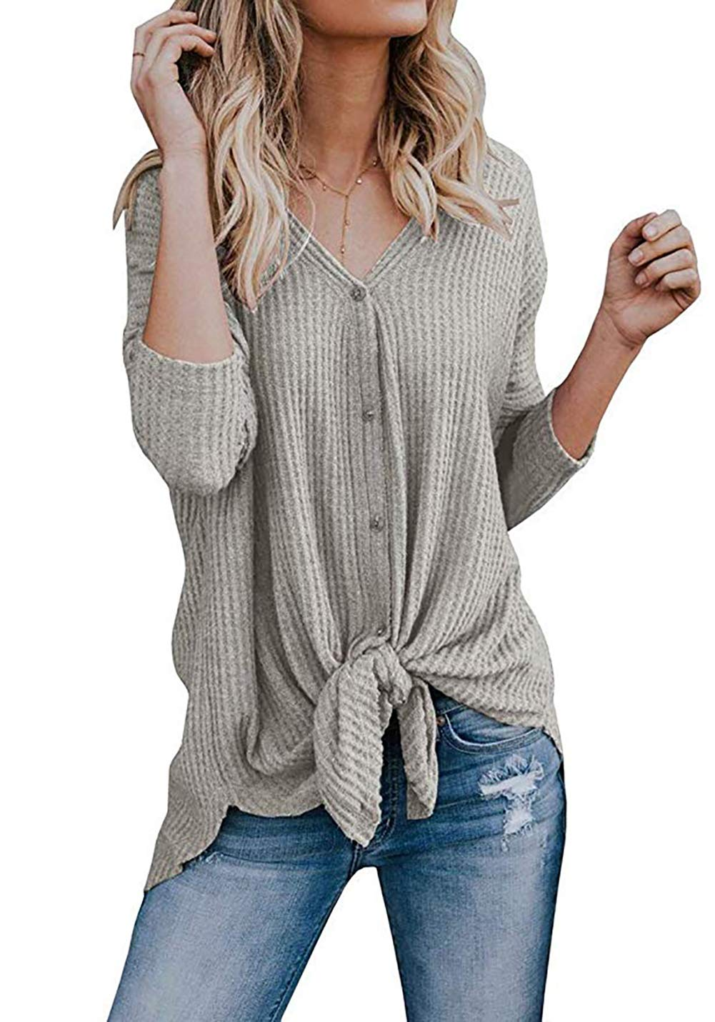 Chvity Womens Waffle Knit Tunic Blouse Tie Knot Henley Tops Loose Fitting Bat Wing Plain Shirts (L, Oatmeal Grey)