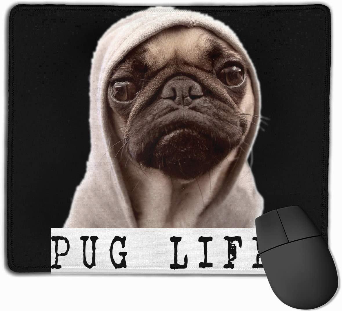Cute Large Mouse Pad with Animal Design Funny Pug Dog Life Print for Computer Office Gaming,11.8x9.8x0.09 Inch