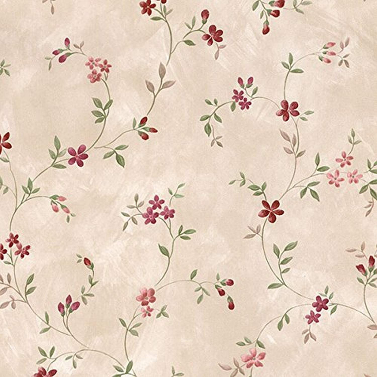 Norwall Nwhm26312 Chesapeake Floral Trail Textured Wallpaper Red
