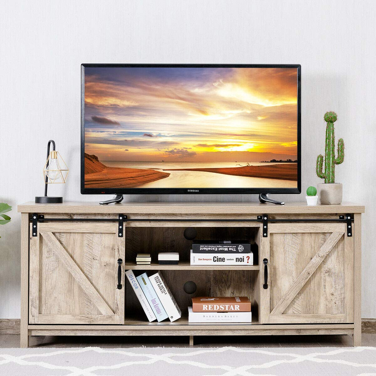 """Tangkula TV Stand for 60"""" Television, TV Ark with Sliding Barn Doors, Wooden TV Cabinet with 2 Center Compartments and 2 Cabinets, Console Storage Table with Cabinet, Natural Design (White Oak)"""