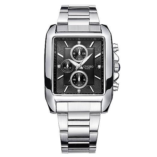 LONGBO Vintage Cuadrado Dial De Forma De Cuarzo De Acero Inoxidable Reloj P Hombre Militar Impermeable Relojes Retro Mens Luminous Reloj Negro: Amazon.es: ...