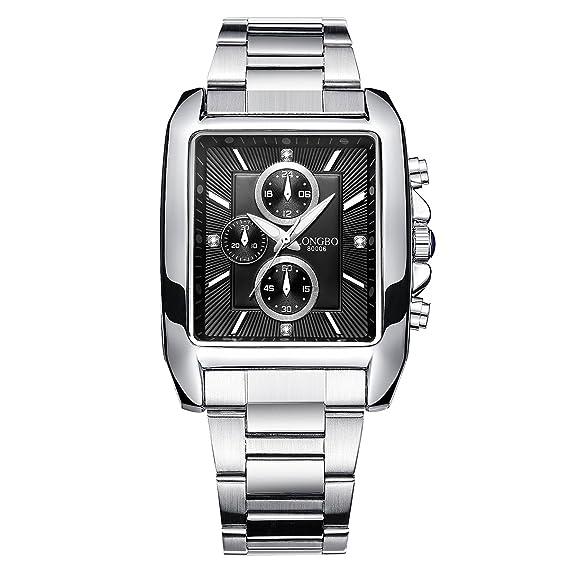 LONGBO Vintage Cuadrado Dial De Forma De Cuarzo De Acero Inoxidable Reloj P Hombre Militar Impermeable