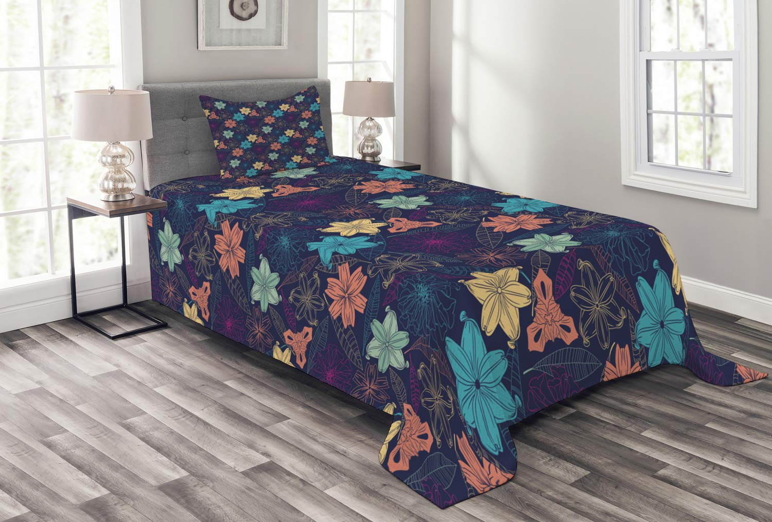 Ambesonne Floral Bedspread, Exotic Hibiscus Petals in Warm Tones Beach Palm Tree Wild Dreamy Tropical Graphic, Decorative Quilted 2 Piece Coverlet Set with Pillow Sham, Twin Size, Multicolor
