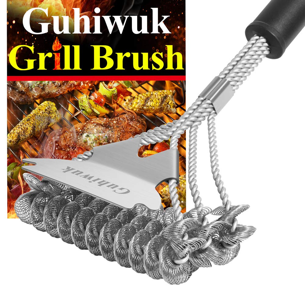 Guhiwuk Grill Brush Bristle and Scraper, BBQ Cleaning Grill Brush and Scraper, 18 Inch Stainless Steel Grilling Accessories Cleaner for Weber Gas/Charcoal Porcelain/Ceramic/Iron/Steel Grill Grates
