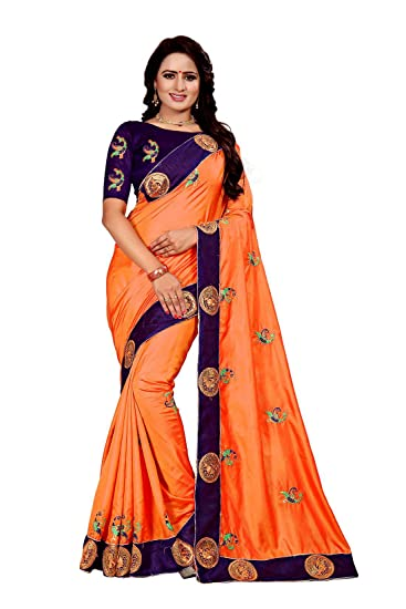 f6b4b243a9 HF HOLYDAY FASHION Paper Silk Saree With Blouse Piece (HF Embroidered Saree  Fanta_Fanta_Free Size): Amazon.in: Clothing & Accessories