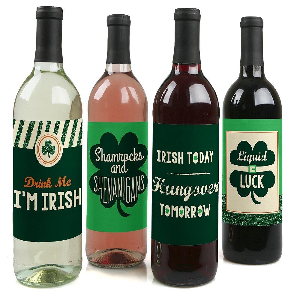 St. Patrick's Day - Saint Patty's Day Wine Bottle Labels - Set of 4 Big Dot of Happiness LLC BD5574wl