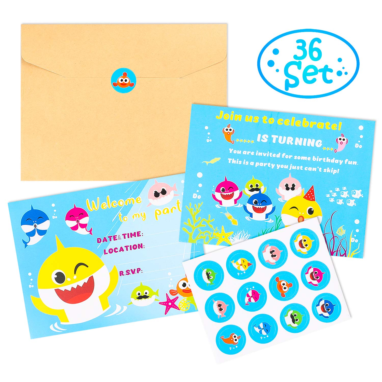 MALLMALL6 36Pcs Little Shark Invitation Cards Set Little Shark Greeting Card Shark Themed Birthday Party Supplies Baby Shower Invitation Invites for Kids with Envelopes Little Shark Sticker