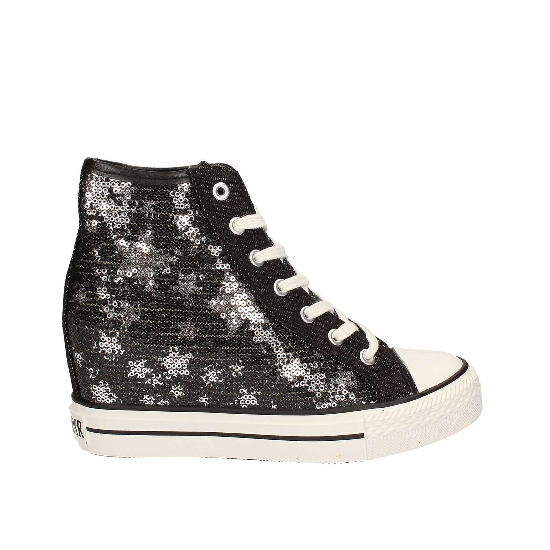 CAF schwarz DG914 schwarz silberne Schuhe Frauen Mitte sheakers Pailletten Keil