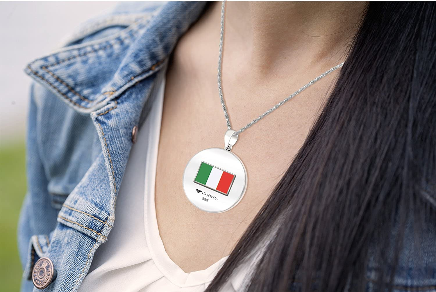 18in to 24in 0.925 Sterling Silver 1in DNA Certified Italian Heritage Pendant Medal with Flag Necklace