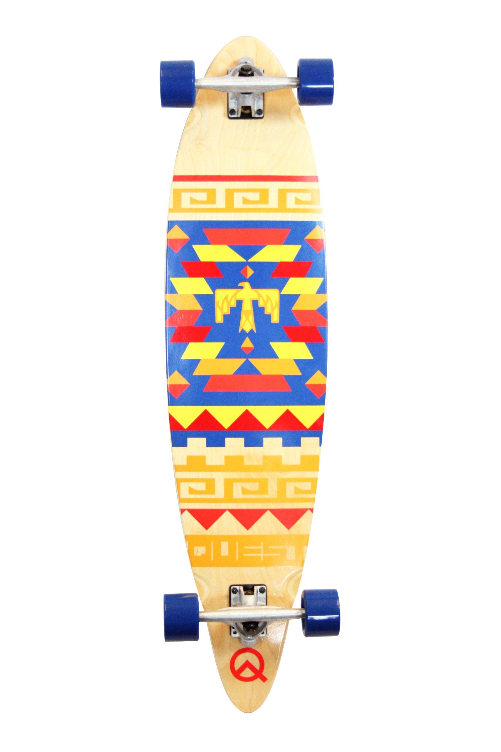 Quest Tribes Pin Kick Tail Longboard Skateboard, 40-Inch