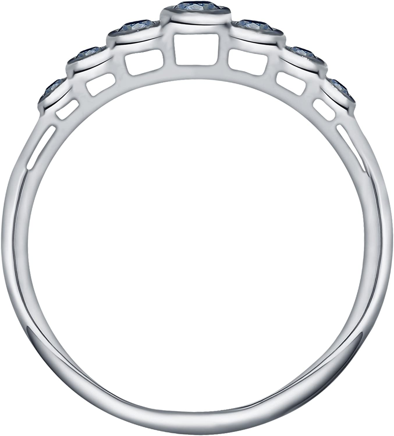 Prism Jewel 0.23Ct Round Cut Blue Diamond Bezel Set 7 Stone Ring Crafted In 925 Silver