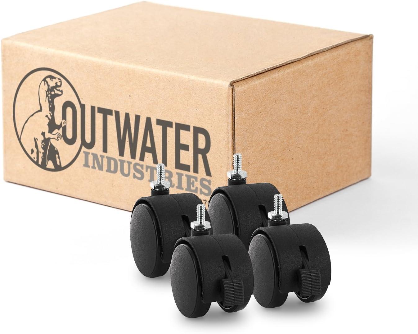 "2"" Wheel Diameter | Black Nylon Swivel Hooded Samson Twin Wheel Caster with Brake | and 1/4-20 x 1/2"" Threaded Stem | Swivel Radius of 2-1/8"" | 4 Pack by Outwater"