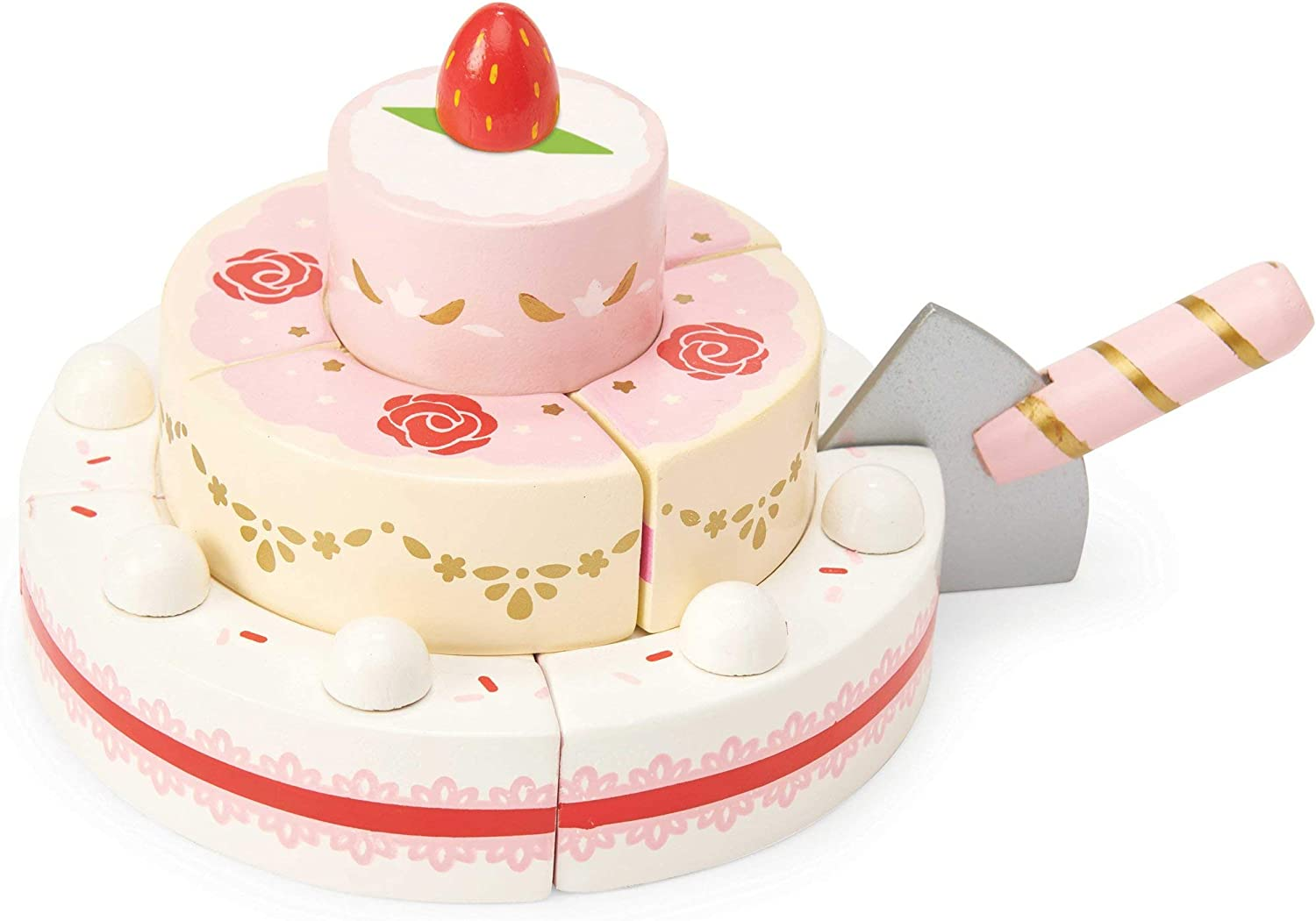 Le Toy Van - Childrens Wooden Honeybake Strawberry Wedding Cake Food Pretend Toy | Girls Birthday Cake Or Afternoon Tea Role Play Toy, Multi