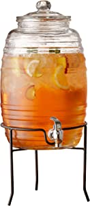 Style Setter 210323-GB Beverage Dispenser with Stand Cold Drink w 2.5 Gallon Capacity Glass Jug and Leak-Proof Acrylic Spigot in Gift Box for Parties, Weddings, 10x17, Clear