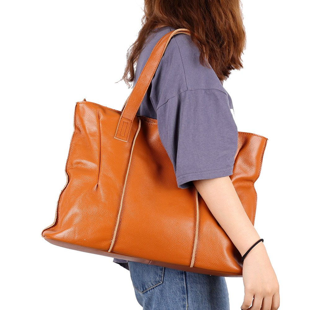 malluo Women Handbags Hobo Shoulder Bags Tote Leather Handbags Fashion Large Capacity Bags (yellow) by Malluo (Image #2)