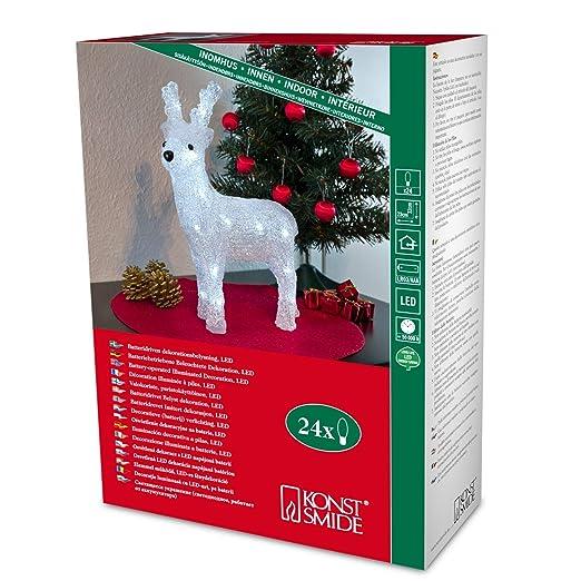 battery led acrylic reindeer 24 leds 32cm high 3d christmas decoration 6158 - 3d Acrylic Christmas Decorations
