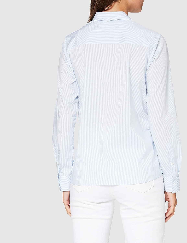 Silkesklistermärke dam blus – City Blus – skjortblus med skjortblusbrosch – Slim Fit – lång ärm – stretch BLÅ
