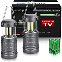 LETMY 2 Pack Camping Lantern with 6 AA Batteries - Magnetic Base - New COB LED Technology Emits 500 Lumens - Collapsible, Waterproof, Shockproof LED Lantern for Emergency, Hurricane, Storms, Outage