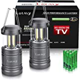 LETMY 2 Pack Camping Lantern with 6 AA Batteries - Magnetic Base - New COB LED Technology Emits 500 Lumens - Collapsible, Wat