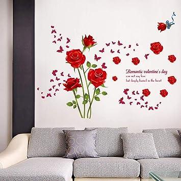 Amazon.com: GVGs Shop 1 Pc rojo azul rosas salón pareja ...