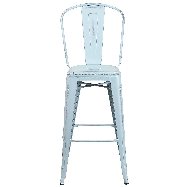 Amazon.com: Flash Furniture 30u0027u0027 High Distressed Green Blue Metal  Indoor Outdoor Barstool With Back: Kitchen U0026 Dining