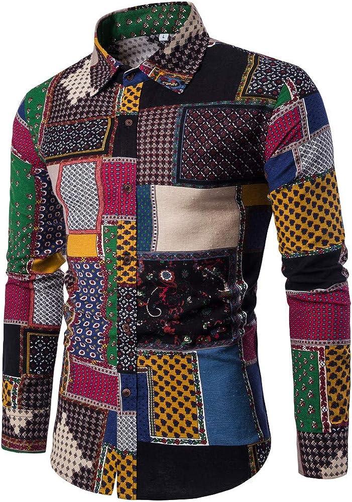 Camisa Hombre, Camisa de Hombre Manga Larga Negocio Ajustado Botón Formal Retro Impresión Blusa Tops Camiseta para Hombre Camisa Slim Fit BusinessMulticolorM: Amazon.es: Ropa y accesorios