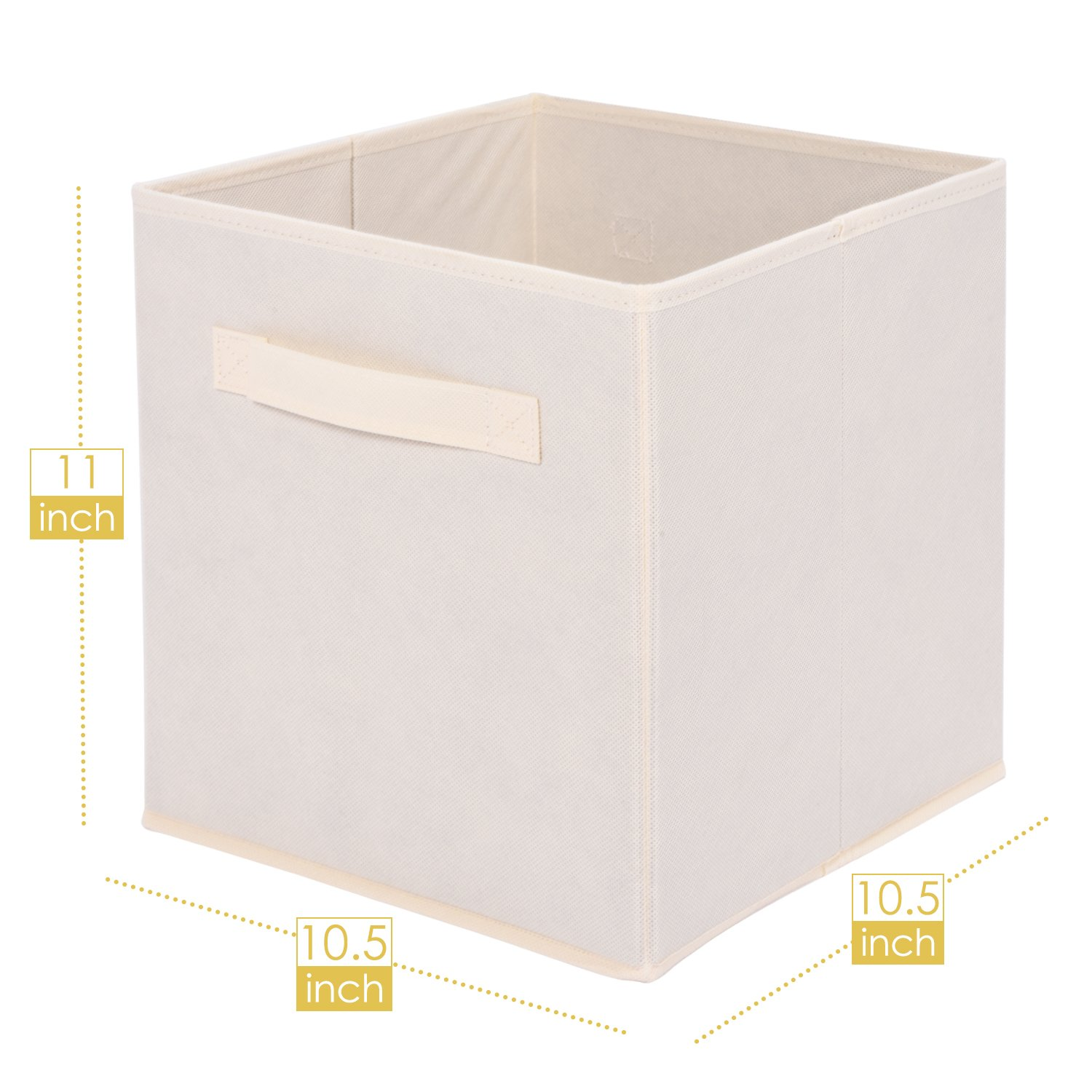 MaidMAX Cloth Storage Bin with Dual Handles for Home Closet Nursery Drawers Organizer, Foldable, Beige, Set of 6