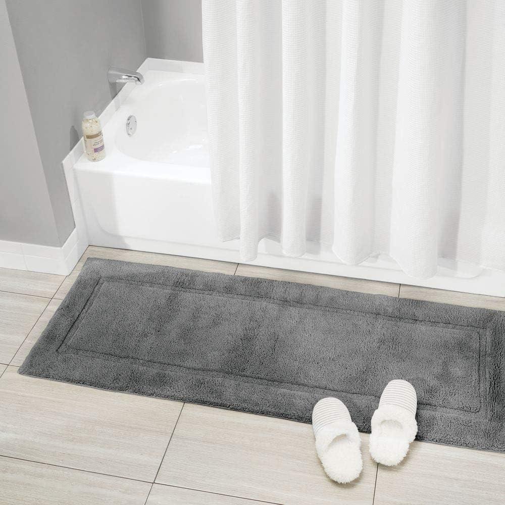 Decorative Border for Bathroom Vanity Bathtub//Shower Plush Water Absorbent Black Machine Washable Long Runner 60 x 21 mDesign Soft 100/% Cotton Luxury Hotel-Style Rectangular Spa Mat Rug