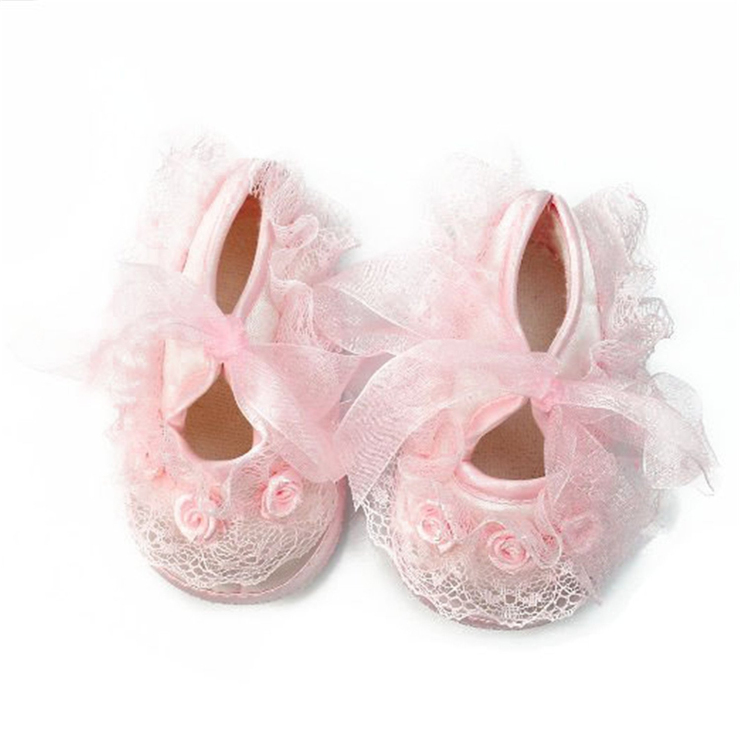 Pinzhi® Princess Non-Slip Newborn Baby Toddler Girl Beautiful Lace Shoes 0-3 Month - Pink SPQLUF1507