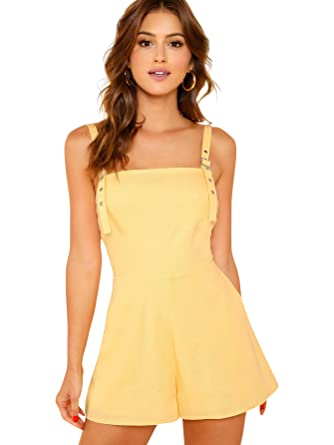 b613d2623f8 Amazon.com  Romwe Women s Casual Straps Sleeveless Short Romper Jumpsuit  with Pockets Yellow Large  Clothing