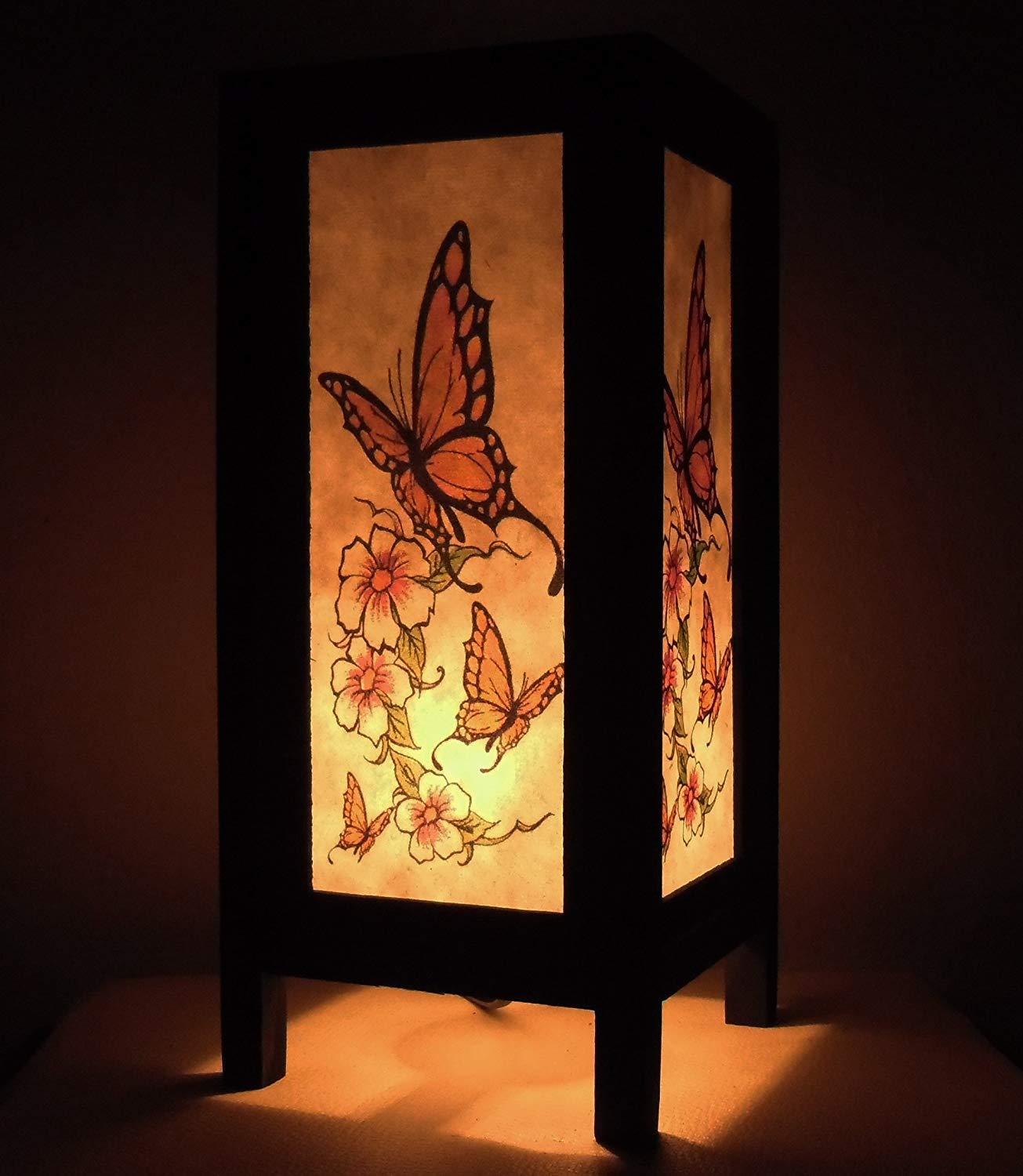 Thai Vintage Handmade Asian Oriental Butterfly Bedside Table Light or Floor Wood Paper Lamp Shades Home Bedroom Garden Decor Modern Design from Thailand by Red berry Thailand Lanna Lamp