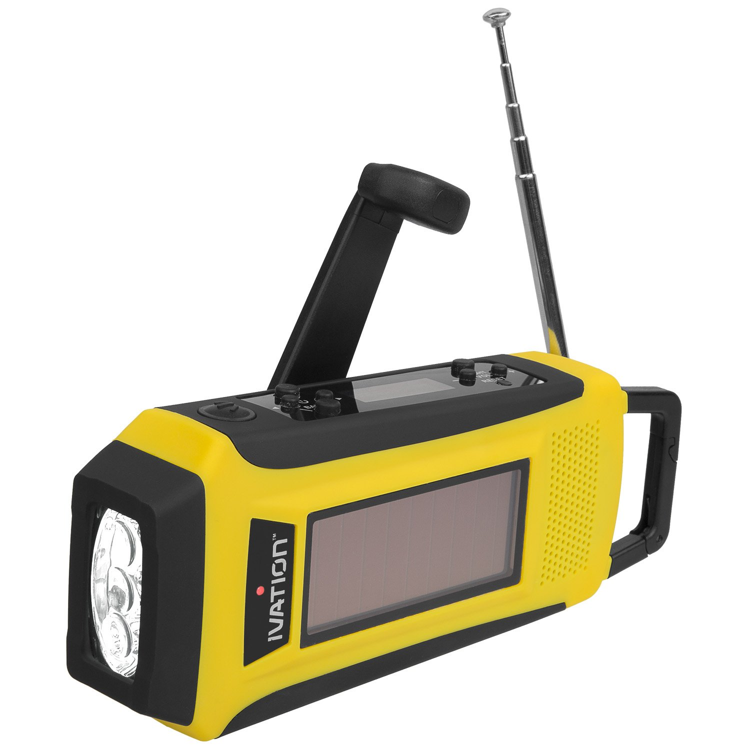 Ivation Hand Cranking, Solar or Battery Rechargeable Flashlight w/Emergency NOAA-Weather/AM/FM Radio - 3-Bulb LED Camping Torch and Cell Phone Charging Power-Bank - Cables Included, Yellow