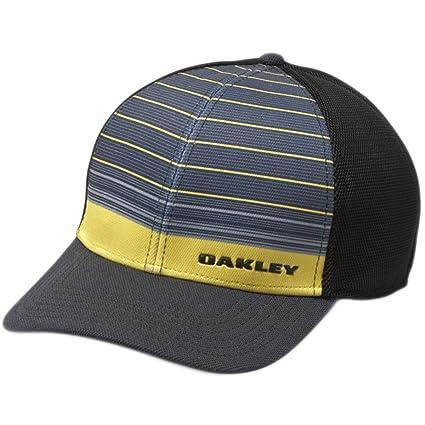 054900d9708 Oakley Mens Silicon Bark Trucker 4.0 Print Flexfit Hat Small Medium Blazing  Yellow