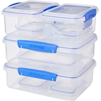 Sistema KLIP IT Rectangular Collection Food Storage Containers, Clear/Blue, 10-Piece Set