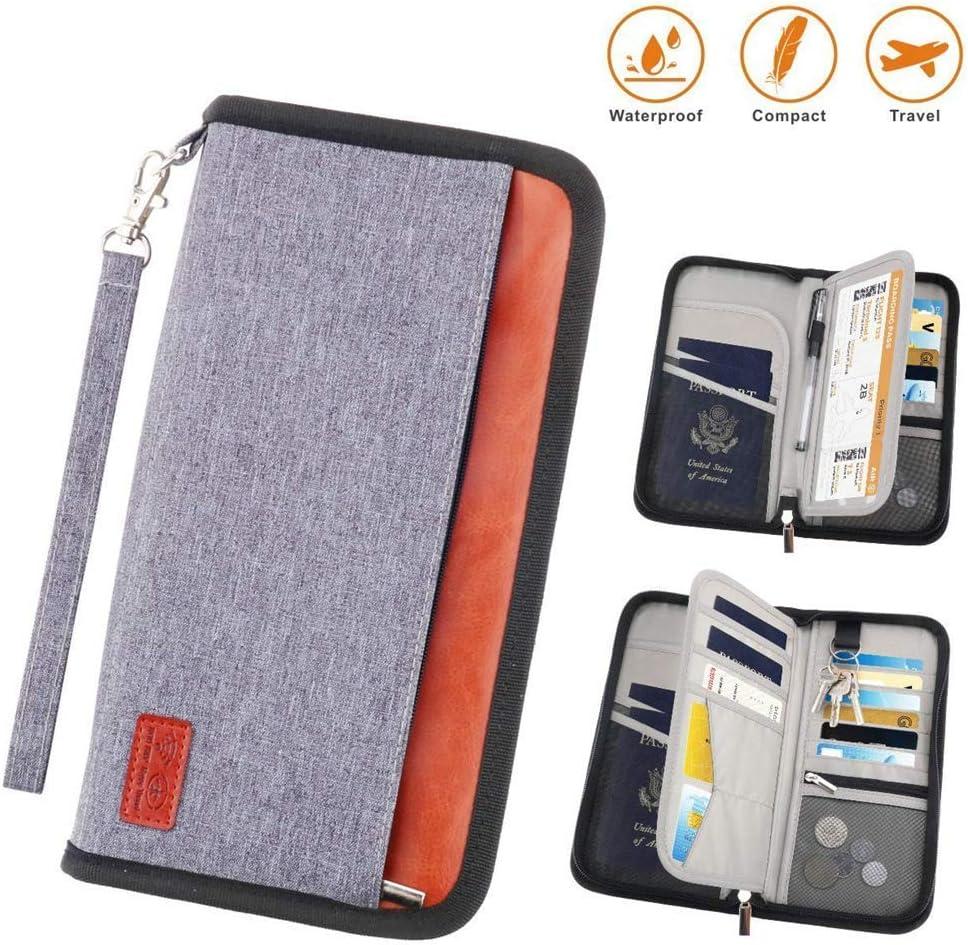 Porta Pasaportes Portadocumentos para Viajes,Pasaporte Familiar,RFID Bloqueador,Resistente al Agua y Duradero Crédito, Carnet de Identidad, Billetes de Avión para Hombre Mujer (Gris, 25 x 14 cm): Amazon.es: Equipaje