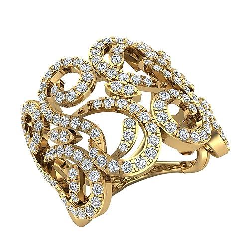1.27 ct tw Fashion Band Filigree Diamond Cocktail Ring 18K Gold (G,VS)