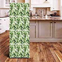 Angel-LJH Green ONE Piece Door Sticker,Exotic Tropic Pattern with Palm Leaves Breadfruits...
